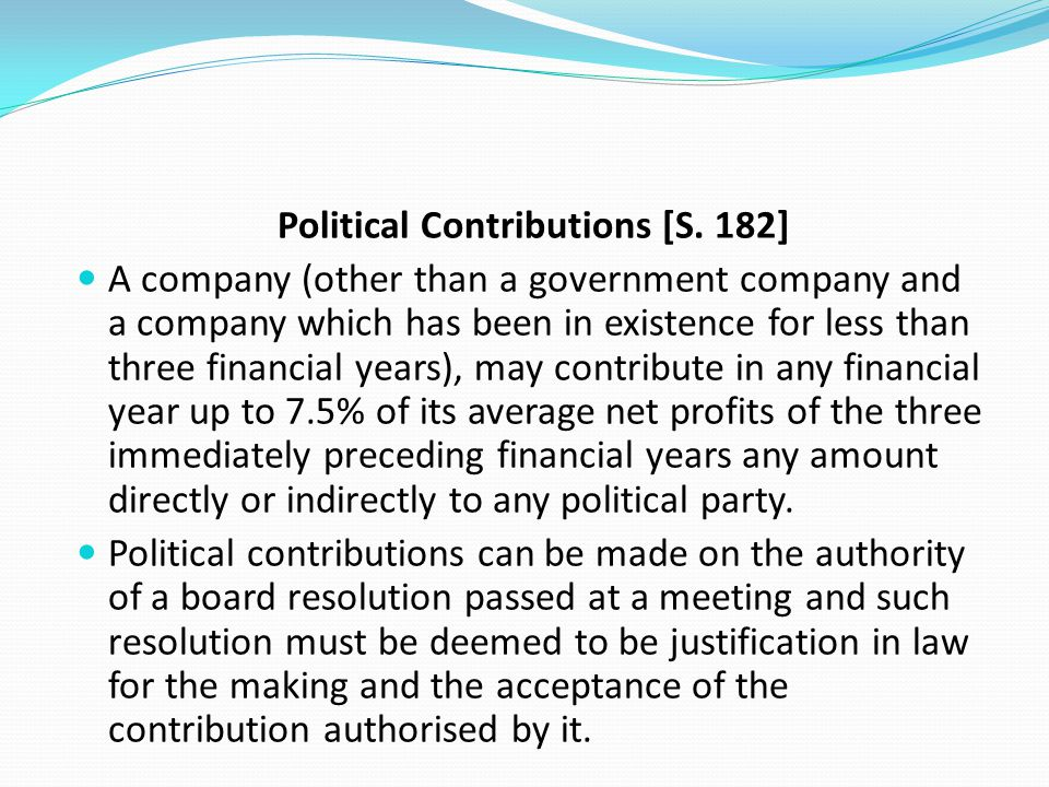 Political Contributions [S. 182]